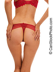 Back of the beautiful woman in red underwear