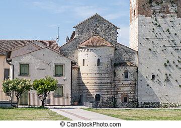 back of the roman abbey in Villanova, Verona, Italy