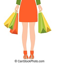 Back of woman holding shopping bags,Flat design.