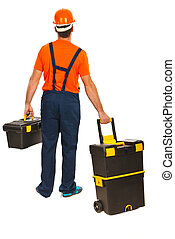 Back of worker man walking and carrying tools boxes isolated on white background