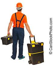 Back of worker walking - Back of worker man walking and...