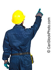 Back of worker woman pointing up isolated on white...