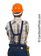 Back of workman with orange helmet isolated on white...