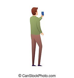Back of young man in green sweater make selfie