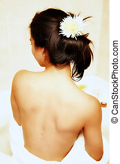 Back of young woman