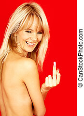 back off - laughing topless blond showing her middle finger