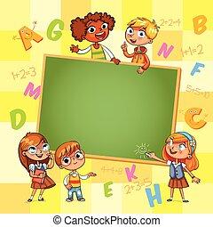 back, om te, school., mal, voor, reclame, informatieboekje