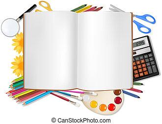 back, om te, school., notepad, met, school