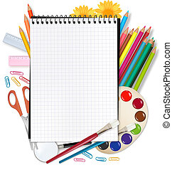 back, om te, school., notepad, met, school