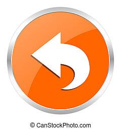back orange glossy icon