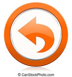 back orange icon arrow sign