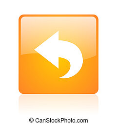 back orange square glossy web icon