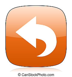 back orange square web design glossy icon