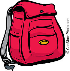 An Illustration of a black and red backpack