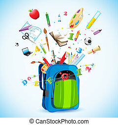 illustration of school object poping out from school bag