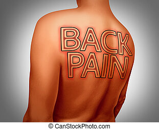 Back Pain - Back pain medical concept as text tattoo art on...