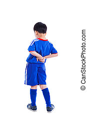 Back pain. Child rubbing the muscles of his lower back, Isolated on white