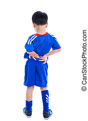 Back pain. Child rubbing the muscles of his lower back -...