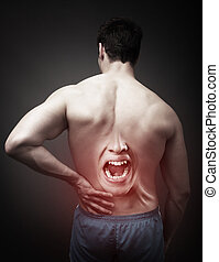 Back Pain Concept. Human Spine Injury
