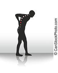 back pain - symbolic illustration of figure with back...
