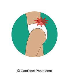Back pain illustration on the green background. Vector...