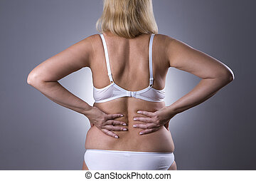 Back pain, kidney inflammation, ache in woman's body