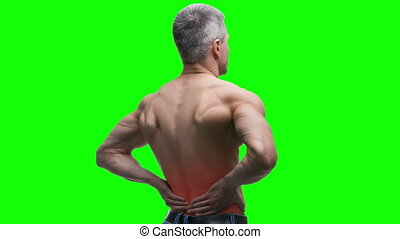 Back pain, kidney inflammation, elderly muscular man with...