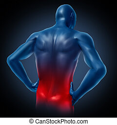 Lower back pain represented by a human body with dorsalgia disease highlighted in red showing chronic spinal medical symptoms that relate to weakness numbness and tingling.