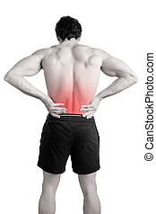 Male athlete with pain in his lower back, isolated in white. Red spot around painful area.