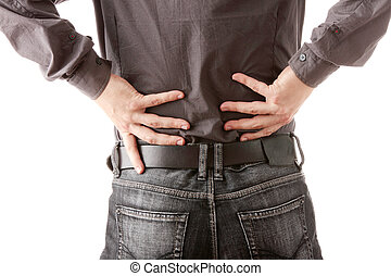 Back pain - Man with back pain isolated