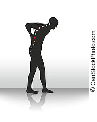 back pain - symbolic illustration of figure with back...