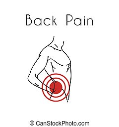 Back Pain Vector Illustration with Man