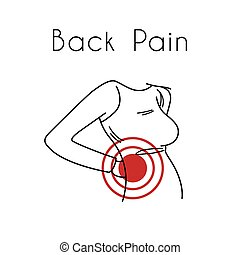 Back Pain Vector Illustration with Woman