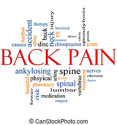 Back Pain Word Cloud Concept with great terms such as injury, lumbar, spine, treatment, discs and more.