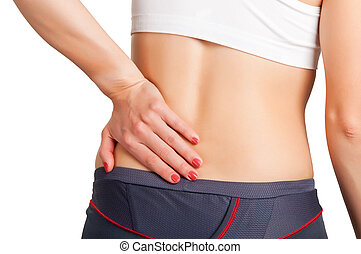 Back Pain - Young woman with pain in her lower back