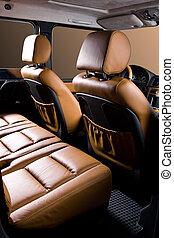 Back passenger seats in modern comfortable car