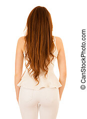 Back photography of a woman with long hair