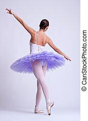 back picture of a ballerina wearing a purple tu tu, studio...
