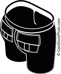 Back pocket jeans icon, simple style