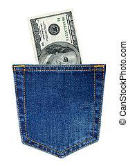 Back pocket of blue Jeans