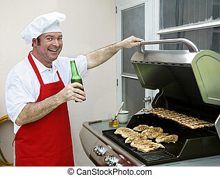 Back Porch BBQ - Happy Cook - A happy smiling cook making...