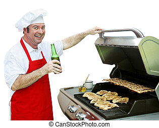 Back Porch BBQ - Isolated - A happy smiling cook making...