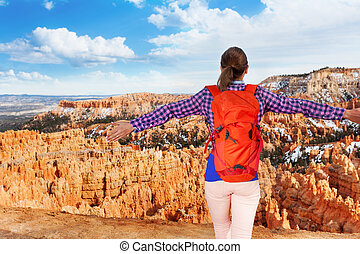 Back portrait of woman in Bryce canyon