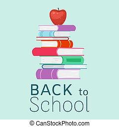 back, poster., textbooks, appel, vector, illustration., opleiding, typography., boekjes , bovenzijde, spotprent, stapel, school