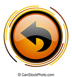 back round design orange glossy web icon