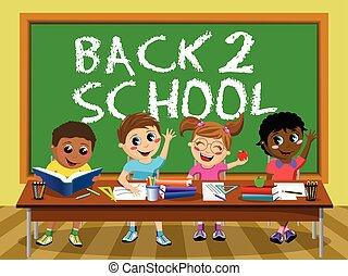 Back School blackboard Happy kids children classroom - Back...