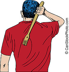 Back Scratcher - man scratching his back.