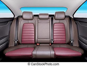 back seat - Back passenger seats in modern sport car, ...