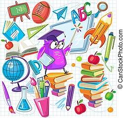 back, set, school, communie, ontwerp