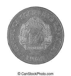 Back side of 1 Leu coin Romania money isolated on a white background photo